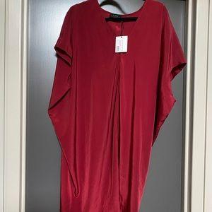 NWT Hatch garnet red slouchy v-neck t-shirt dress